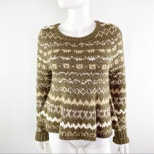 Free People Brown Fair Isle Sweater with Swing Hem